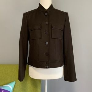 Talbots Brown Wool Military Jacket Petite
